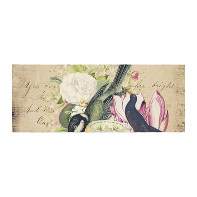 Suzanne Carter Vintage Tea Bird Illustration Bed Runner