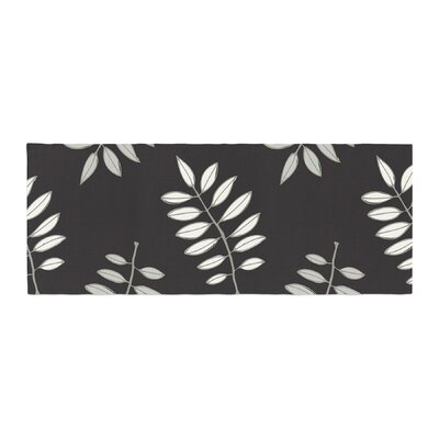 Laurie Baars Pagoda Leaf Floral Illustration Bed Runner Color: Black