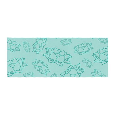 Lotus Pattern Floral Yoga Flowers Bed Runner Color: Teal