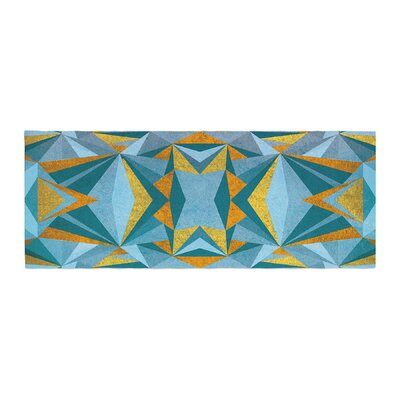 Nika Martinez Abstraction Bed Runner Color: Blue/Gold