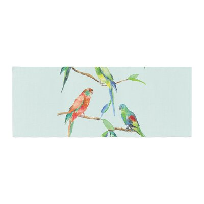 Sonal Nathwani Parrot Party Watercolor Bed Runner