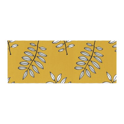 Laurie Baars Pagoda Leaf Floral Illustration Bed Runner Color: Gold