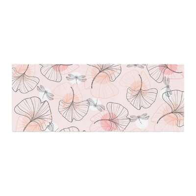 Mmartabc Pattern Flowers and Dragonflies Illustration Bed Runner