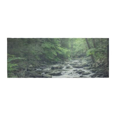 Suzanne Harford Misty Forest Stream Nature Photography Bed Runner