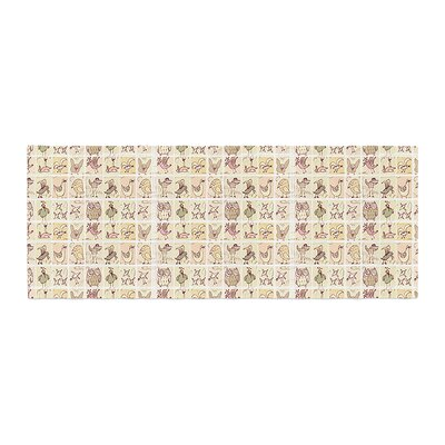 Marianna Tankelevich Cute Birds Bed Runner Color: Tan