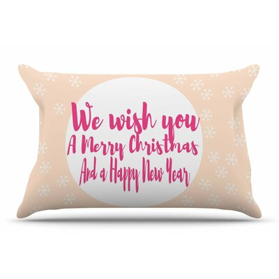 Suzanne Carter Merry Chistmas & Happy New Year Peach Pillow Case