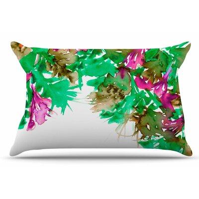 Ebi Emporium Floral Cascade 9 Pillow Case Color: Pink/Green