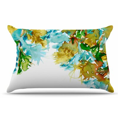 Ebi Emporium Floral Cascade 9 Pillow Case Color: Yellow Green