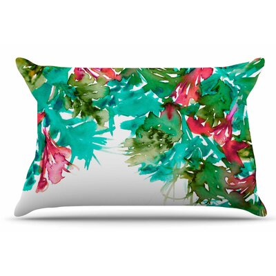 Ebi Emporium Floral Cascade 9 Pillow Case Color: Red/Teal