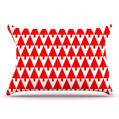 Gabriela Fuente Happy X-Mas & White Geometric Monotone Pillow Case Color: Red