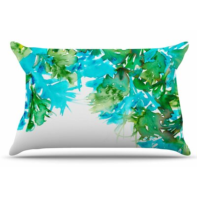 Ebi Emporium Floral Cascade 9 Pillow Case Color: Teal/Green