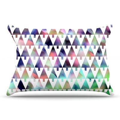 Gabriela Fuente Happy X-Mas & White Geometric Monotone Pillow Case Color: Purple/Green