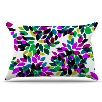 Ebi Emporium Dahlia Dots 2 Pillow Case Color: Purple/Green