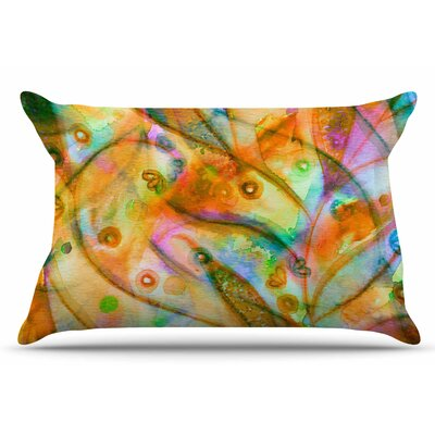 Ebi Emporium Flourish Floral Pillow Case Color: Yellow/Orange