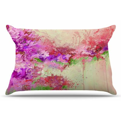 Ebi Emporium When Land Met Sky 3 Pillow Case Color: Pink/Green