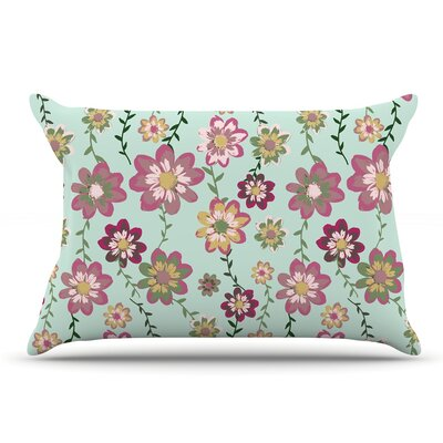 Nika Martinez 'Romantic Floral In Mint' Pillow Case