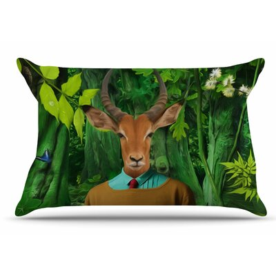 Natt 'Into The Leaves N4' Antelope Pillow Case