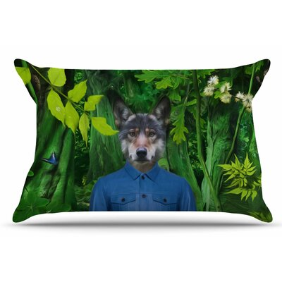 Natt 'Into The Leaves N3' Wolf Pillow Case