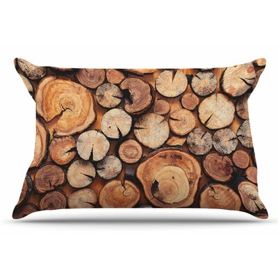 Susan Sanders Rustic Wood Logs Pillow Case