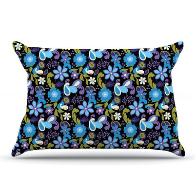 Carolyn Greifeld Purple & Florals Pillow Case Color: Lavender/Aqua