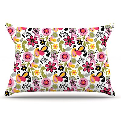 Carolyn Greifeld Purple & Florals Pillow Case Color: Pink/Yellow