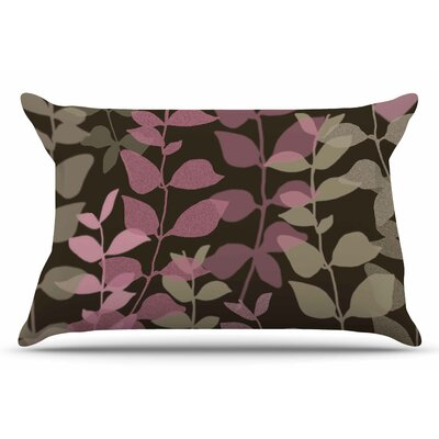 Carolyn Greifeld Leaves Of Fantasy 2 Pillow Case Color: Pink/Brown
