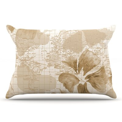 Catherine Holcombe Flower Power Map Pillow Case Color: Brown/Tan