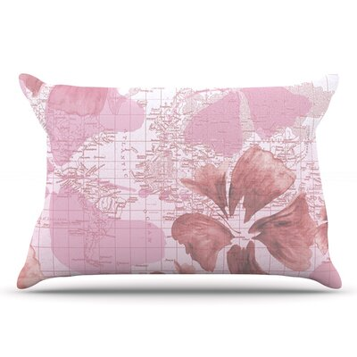 Catherine Holcombe Flower Power Map Pillow Case Color: Pink