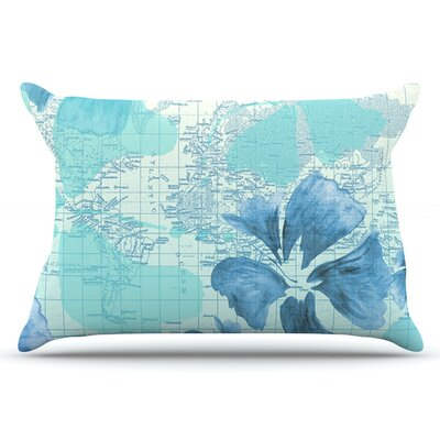 Catherine Holcombe Flower Power Map Pillow Case Color: Blue/Aqua
