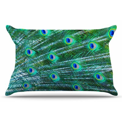 Susan Sanders Teal Peacock Feathers Photograph Pillow Case