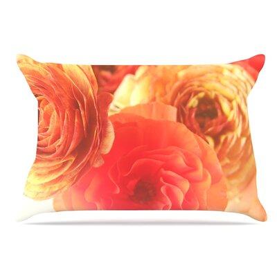 Debbra Obertanec Coral Ranunculus Floral Pillow Case