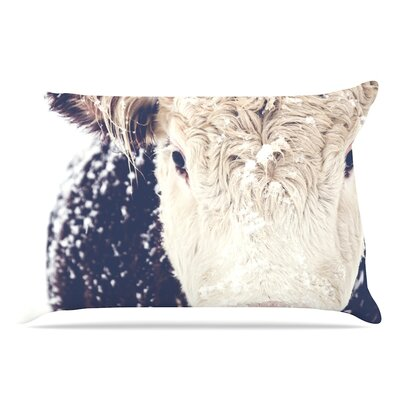 Debbra Obertanec Snowy Cow Pillow Case