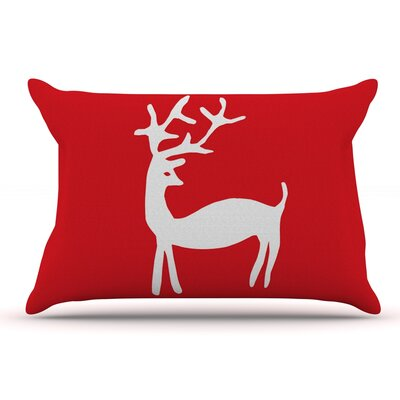Miranda Mol Reindeer Red Holiday Pillow Case