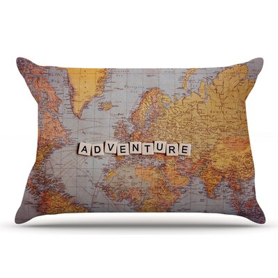 Sylvia Cook 'Adventure Map' World Pillow Case