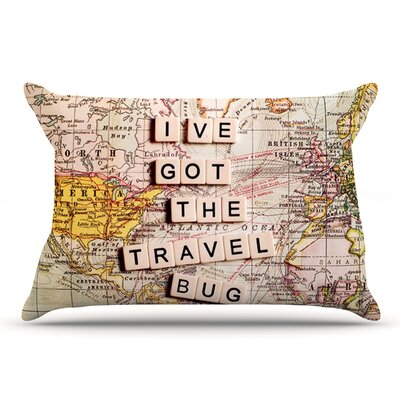 Sylvia Cook Travel Bug Map Pillow Case