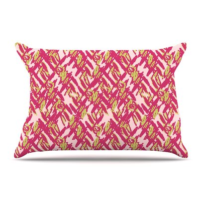 Nandita Singh Abstract Print Pillow Case Color: Red