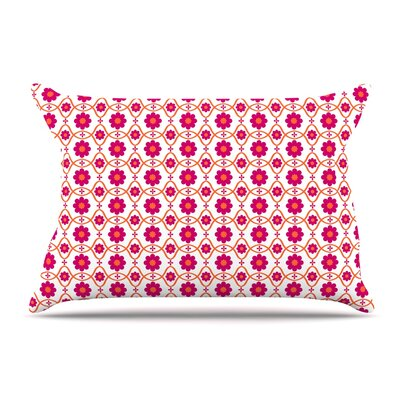 Nandita Singh Floral Peach Pillow Case Color: Magenta/Pink