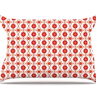 Nandita Singh Floral Peach Pillow Case Color: Crimson/Red