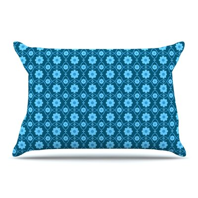 Nandita Singh Floral Peach Pillow Case Color: Blue/Aqua