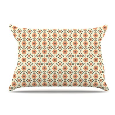Nandita Singh Floral Peach Pillow Case Color: Orange/Peach