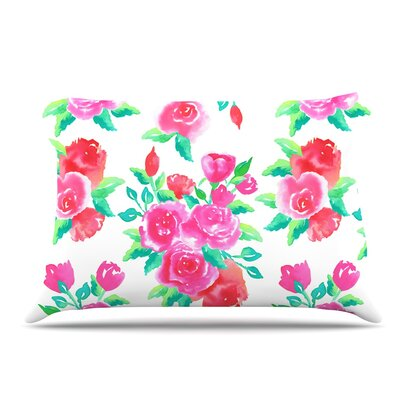 Anneline Sophia Pink Roses Floral Pillow Case