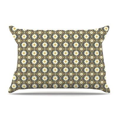 Nandita Singh Floral Peach Pillow Case Color: Grey/Brown
