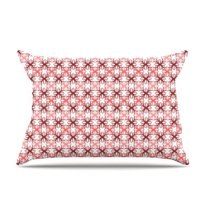 Nandita Singh Pink Motifs Pillow Case Color: Red