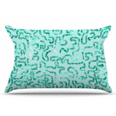 Anneline Sophia Squiggles In Teal Abstract Pillow Case
