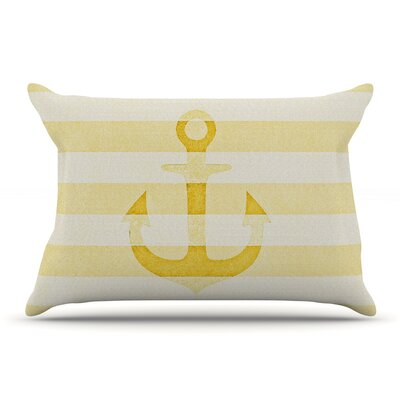 Monika Strigel Stone Vintage Anchor Gray Pillow Case Color: Yellow/Mustard