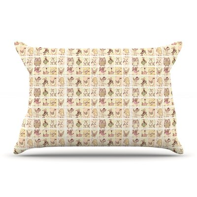 Marianna Tankelevich Cute Birds Pillow Case Color: Tan