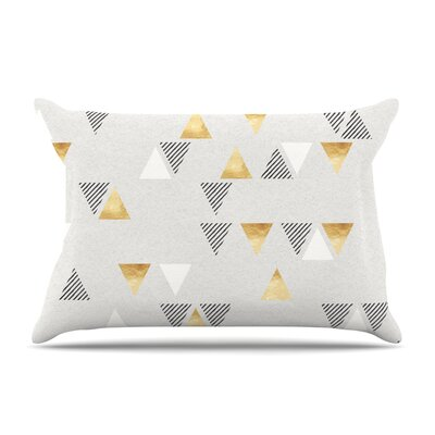 Nick Atkinson Triangle Love Pillow Case Color: Gold