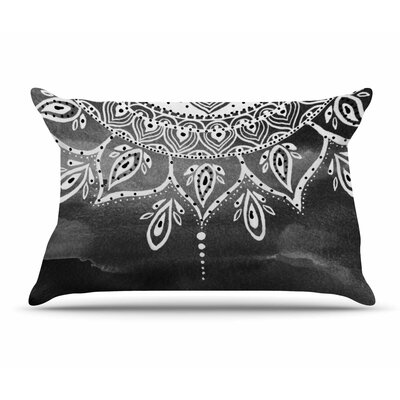 Li Zamperini Lilac Mandala Pillow Case Color: Black/White
