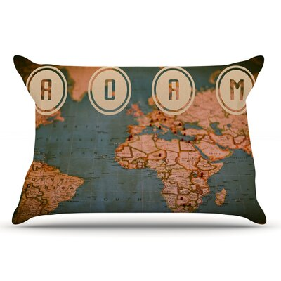 Ann Barnes 'Roam Ii' World Map Pillow Case