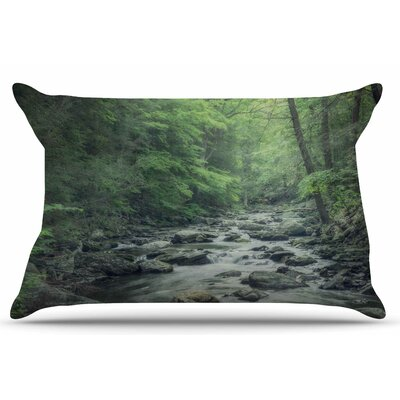 Suzanne Harford Misty Forest Stream Nature Photography Pillow Case